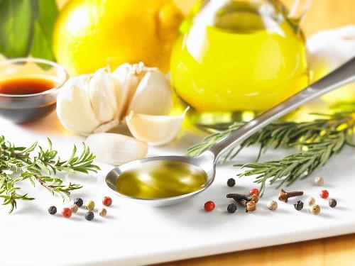 Rosemary, spices, garlic, olive oil, lemon and balsamic vinegar