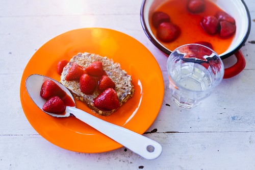 Rye bread French toast with fresh strawberries