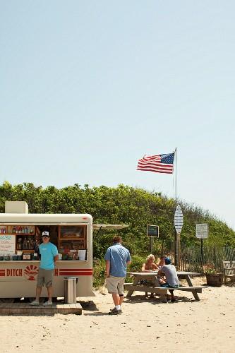 A fast food bar on the beach at Montauk USA