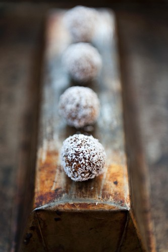 Chocolate pralines with grated coconut