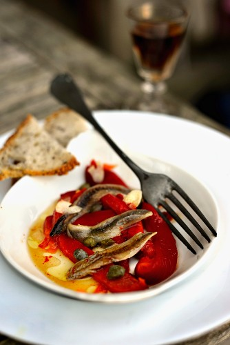 Pickled peppers with anchovies and capers