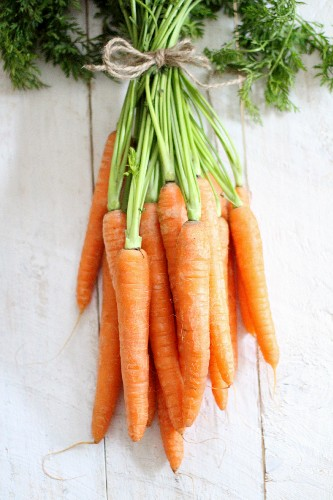 Bunches of fresh carrots