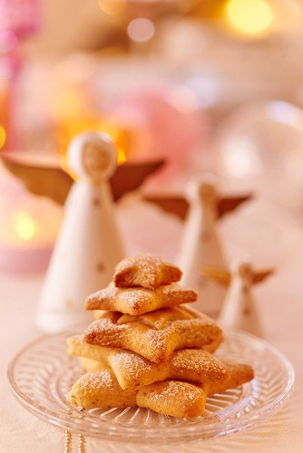 A Christmas tree made from shortcrust biscuits