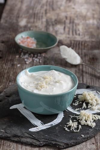 Homemade creamy horseradish
