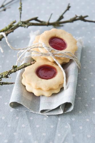 Raspberry jam biscuits