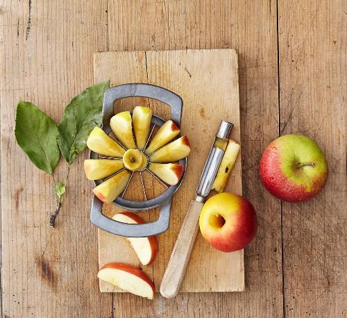 An apple cutter and corer
