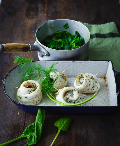 Stuffed plaice rolls with gourmet mushroom cheese and fresh spinach