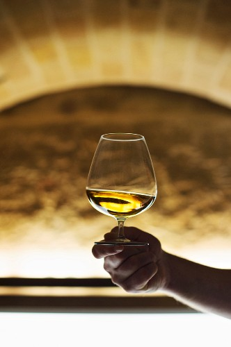 Cognac being swirled in the vaulted lounge of the 'Henricus' restaurant in Dresden