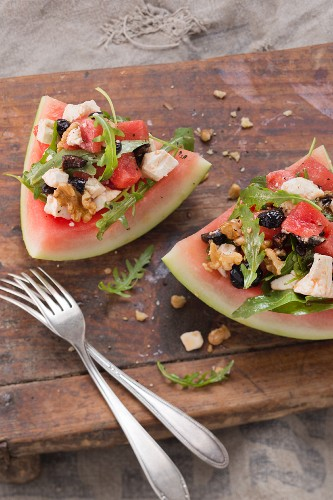 Watermelon salad with rocket, walnuts and sheep's cheese