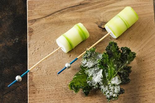 Amuse gueule made from cucumber, sorrel and violets, 'Vue de Monde' restaurant, Melbourne, Australia