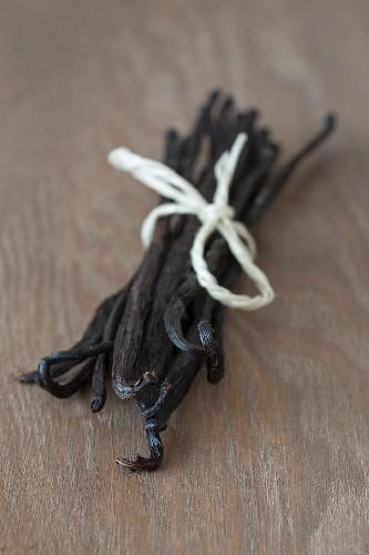 Vanilla pods tied with kitchen twine