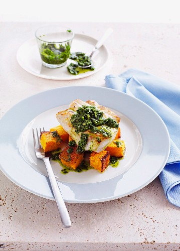 Baked Ling and Pumpkin with Parsley and Garlic Salsa