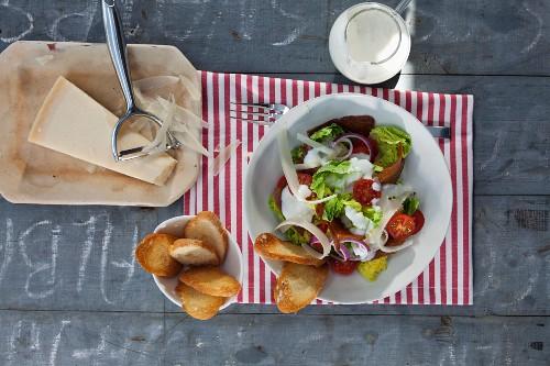 Caesar salad with fried pepper seitan