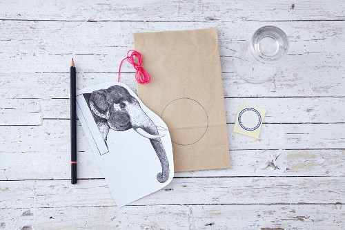 Material for gift paper with an elephant motif