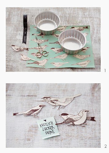 Gift wrapping using baking tins and bird-shaped tags