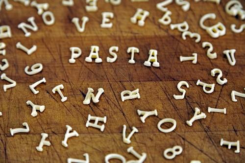 The word 'pasta' spelt with alphabet pasta