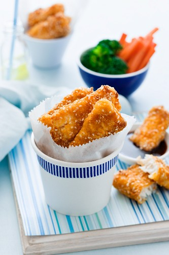 Fish fingers with sesame seeds