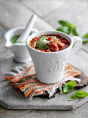 Pesto soup with bacon (Italy)