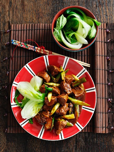 Braised beef with five spice powder and bok choy (China)