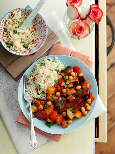 Vegetable ragout with aubergines and chickpeas served with couscous (Orient)