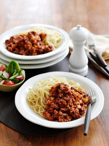 Spaghetti alla bolognese (pasta with a meat sauce, Italy)