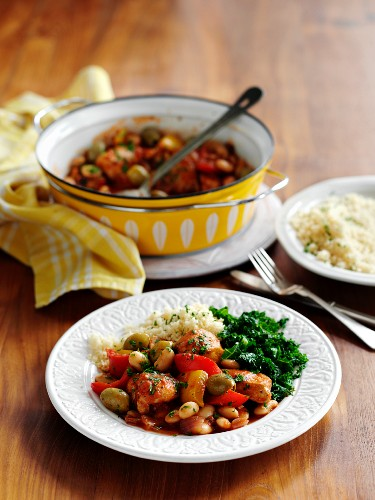 Spanish-style chicken with olives and beans