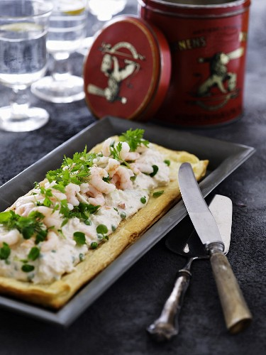 Egg and shrimp salad on a puff pastry base