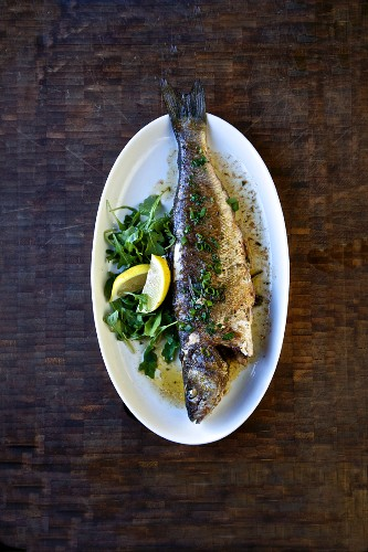 Roasted trout with parsley and lemon