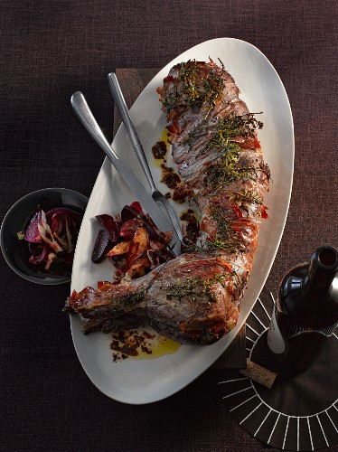 Grilled hare with a vegetable medley
