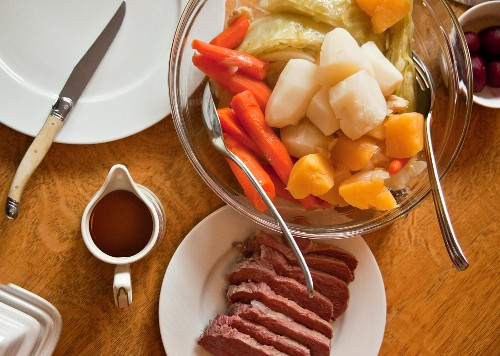 Corned beef with carrots, cabbage and potatoes