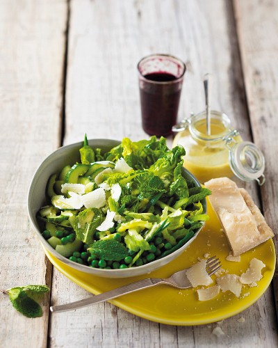 Crunchy green vegetable salad with a Dijon mustard dressing and shaved Parmesan