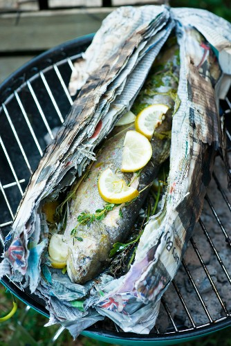 Char with herbs on a barbecue