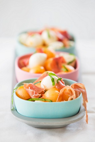 Melon salad with mozzarella balls and Parma ham