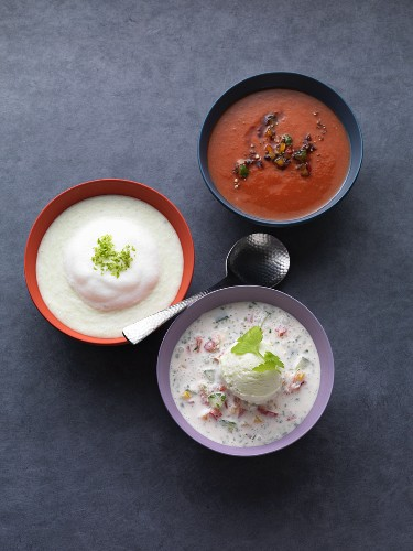 Chilli gazpacho with a cucumber and pepper chutney, wasabi gazpacho with mozzarella foam, and coconut gazpacho with cucumber ice cream