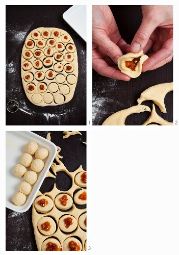 Buchteln (baked, sweet yeast dumplings) with a pear filling being made