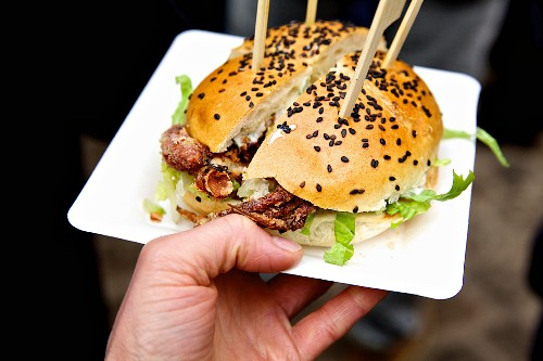 Soft-shell crab burger: deluxe burger with fried crab meet