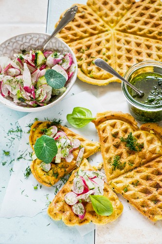 Waffles with nasturtium pesto and a radish salad