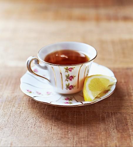 Earl Grey tea in an antique porcelain cup