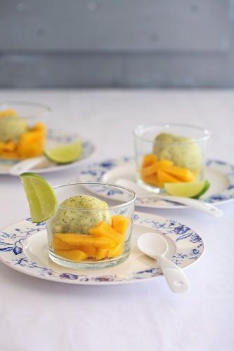 Vanilla yoghurt ice cream with mango and lime