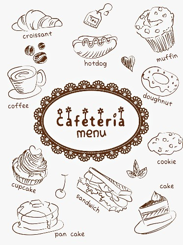 A cafe menu illustrated with coffee, cakes and snacks