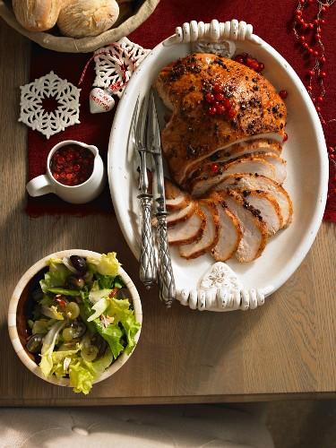 Putenbraten mit Honig, Wacholder und Johannisbeeren (weihnachtlich)