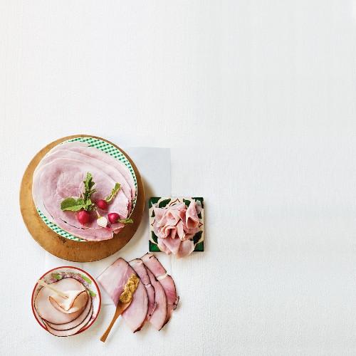 Various types of ham