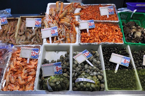 Various prawns, langoustines, clams and sea snails at the fish market in Bilbao, Basque Country, Spain