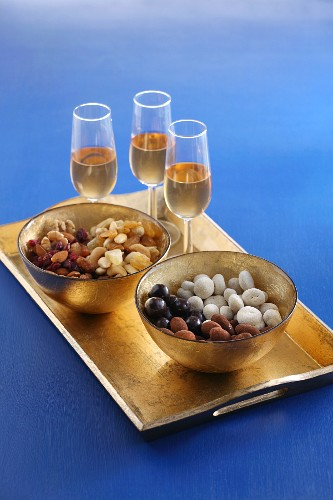 Nuts, dried fruit and chocolate-covered nuts as an aperitif