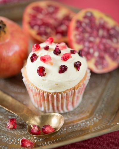 A pomegranate cupcake