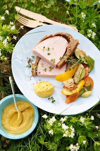 Smoked pork in a bread batter with vegetable salad and mustard for a picnic