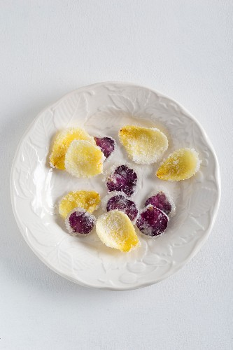 Candied rose petals on a plate