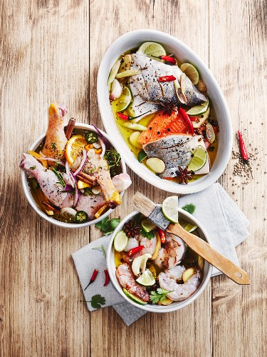 Various marinades: oriental marinade for fish and prawns and a poultry marinade