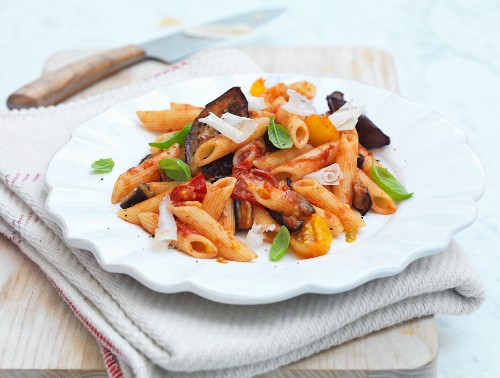 Penne Alla Norma with aubergines, tomatoes and basil