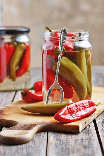 Pickled red and green chilli peppers